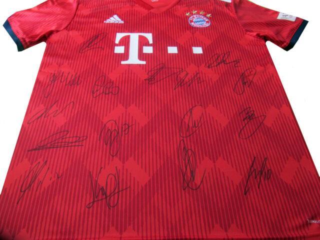 18/19 Team Signed Bayern Munich Soccer / Football Shirt Robben Ribery Etc + Coa