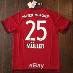 2015/16 Bayern Munich Home Jersey #25 Müller Large Adidas Soccer Football NEW
