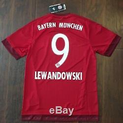 2015/16 Bayern Munich Home Jersey #9 LEWANDOWSKI Medium Adidas Soccer NEW