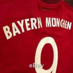 2015/16 Bayern Munich Home Jersey #9 LEWANDOWSKI Medium Adidas Soccer Polish NEW