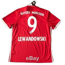 2016/17 Bayern Munich Home Jersey #9 LEWANDOWSKI Large Adidas Soccer NEW