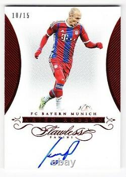 2016 PANINI FLAWLESS SIGNATURES AUTO RUBY ARJEN ROBBEN 10/15 Jersey Number 1/1