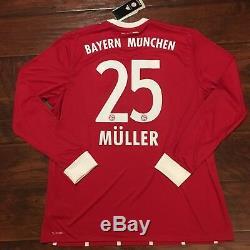 2017/18 Bayern Munich Home Jersey #25 Muller XL Long Sleeve Soccer Germany NEW