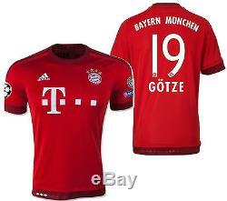 Adidas Mario Gotze Bayern Munich Uefa Champions League Home Jersey 2015/16