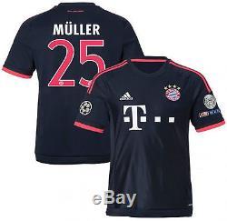 Adidas Thomas Muller Bayern Munich Uefa Champions League Third Jersey 2015/16