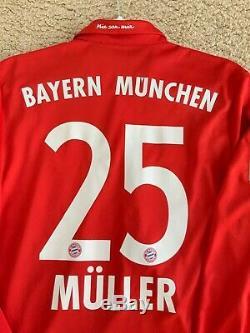 Adidas 2016-2017 Bayern Munich LS Home Jersey Müller #25 Sz M MINT