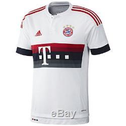 Adidas Bayern Munich 2015-2016 Away Soccer Jersey Brand New White / Red / Grey