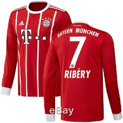 Adidas Franck Ribery Bayern Munich Red 2017/18 Home Replica Long Sleeve Jersey