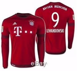 new product c5743 22850 Adidas Robert Lewandowski Bayern Munich Long Sleeve Home ...