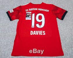 Alphonso Davies Signed FC Bayern Munich Home Red Jersey EXACT Proof JSA
