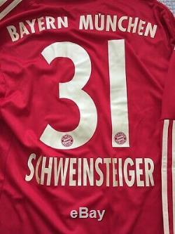 BNWT 2011/12 Bayern Munchen L/S Schweinsteiger Home Jersey Mens Small