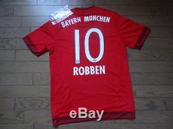Bayern Munich #10 Robben 100% Original Jersey BNWT 2015/16 Home Japanese L(S-M)