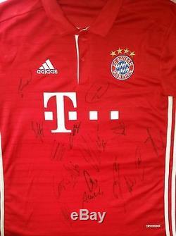 Bayern Munich 16/17 Team Hand Signed Current Shirt Autogramm See Exact Proof