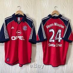 Bayern Munich 1999 2000 2001 Home Football Shirt Jersey Adidas # 24 Santa Cruz