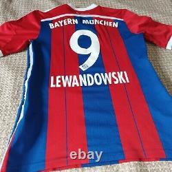 Bayern Munich Home Football Shirt 2014 2015 #9 Lewandowski Size M VFSPro