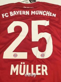 Bayern Munich Home Jersey adidas 2020/2021 Medium #25 Muller Long Sleeve