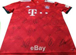 Bayern Munich Home Squad 2018-19 Signed Football Shirt, Soccer Jersey With Coa