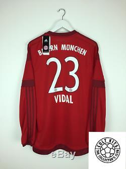Bayern Munich VIDAL #23 15/16 BNWT L/S Home Football Shirt (L) Soccer Jersey