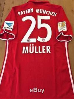 Jersey Bayern Munich #25 Muller Season 2017 Match Worn & Autographed by Players