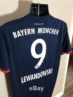 LEWANDOWSKI #9 Bayern Munich Away Large Football Shirt Jersey 2017/18 BNWT