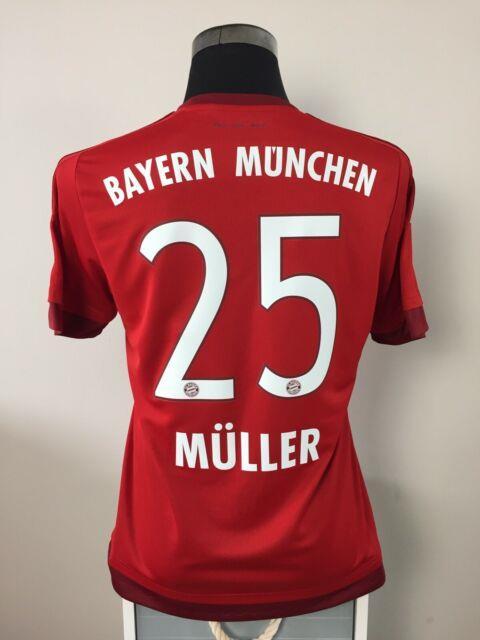 Muller #25 Bayern Munich Home Football Shirt Jersey 2015/16 (m)
