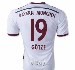 NWT Adidas Bayern Munich 14/15 Away 100% Original Muller, Gotze, Ribery