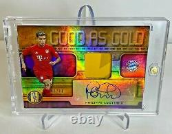 Philippe Coutinho Gold Bayern Munich Autographed Jersey Patch 7/10! Liverpool