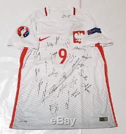 Poland Euro 2016 Squad Signed Shirt Jersey withCOA Lewandowski Bayern Munich Milik