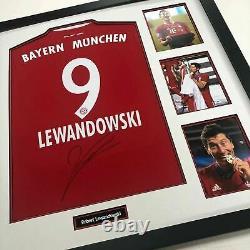 Robert Lewandowski Signed & FRAMED Bayern MUNICH JERSEY AFTAL COA (FTO)