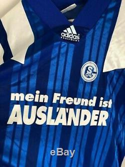 SCHALKE #9 1992 MATCH WORN v Bayern Munich L/S Home Football Shirt (L) Jersey