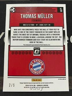 Thomas Muller 2018-19 Panini Donruss Optic Auto Gold Prizm 2/5 SP 25 Jersey No