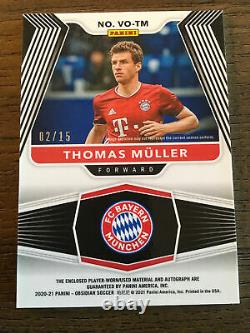 Thomas Muller 2020-21 Obsidian Volcanic Electric Etch Purple Jersey Auto /15
