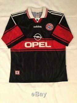 VTG 1997-98 Bayern Munich Bundesliga Adult XL Black Adidas Soccer Jersey Vintage