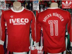 Vintage 1982 Jersey Longsleeve Trikot FC BAYERN MUNCHEN MUNICH Adidas #11 Home